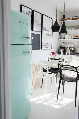 ретро холодильник мятного цвета на кухне