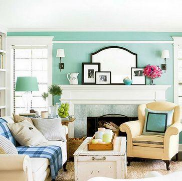 стены мятного цвета в гостиной