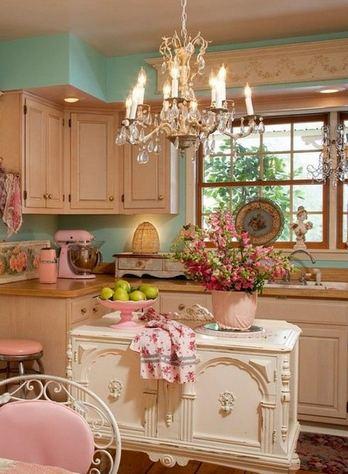 мятный цвет стен кухни в стиле шебби шик