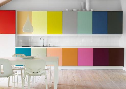 разноцветный кухонный гарнитур
