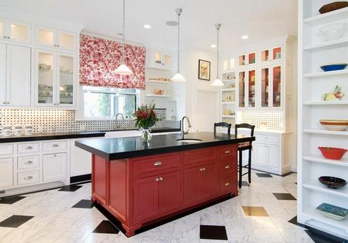 красный остров на кухне
