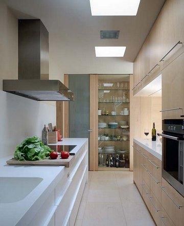 дизайн интерьера узкой кухни