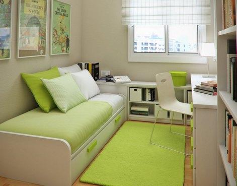 меблировка узкой спальни