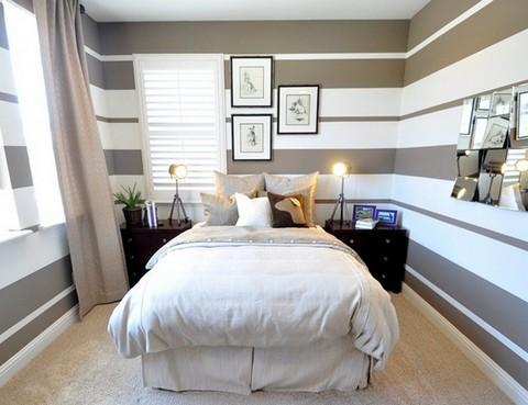 отделка узкой спальни