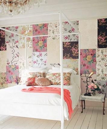 лоскутная стена в спальне