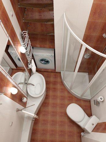 вариант планировки большой ванной с душевой кабиной