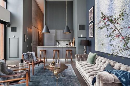 диван честер в интерьере в современном стиле