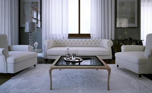 диван честер в гостиной