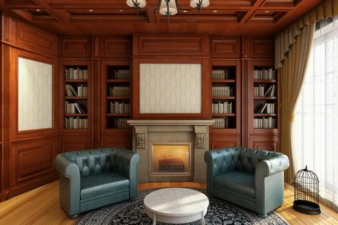 кресла честерфилд в библиотеке