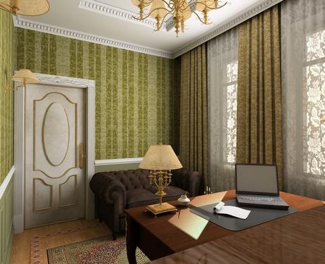 интерьер кабинета с диваном честерфилд
