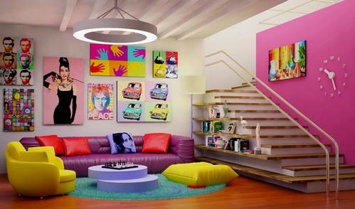 разноцветный интерьер в стиле поп-арт