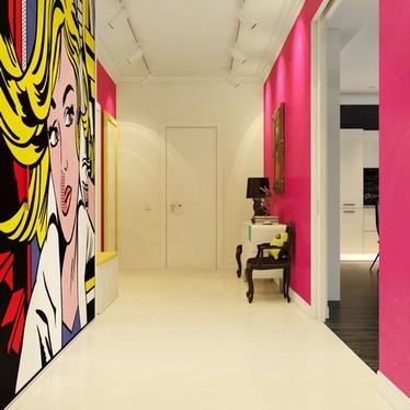 разноцветные интерьеры поп-арт