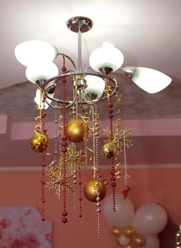 новогодний декор люстры своими руками
