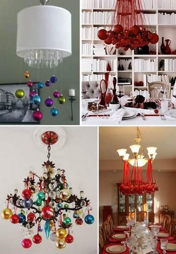 новогодний декор люстры елочными шарами