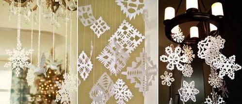 как украсить люстру снежинками