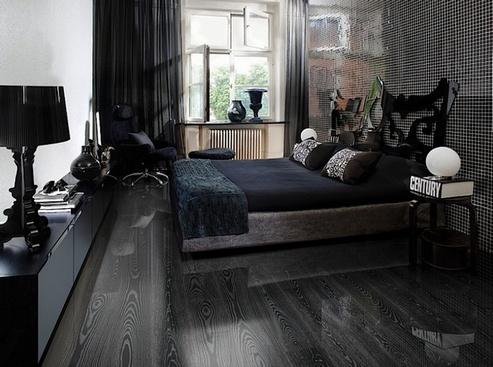 темный пол и темные стены в спальне