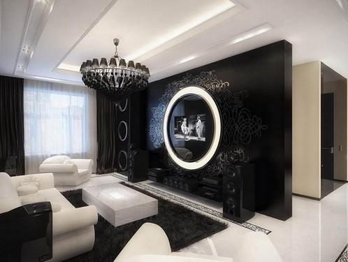 гламурная гостиная с черными шторами