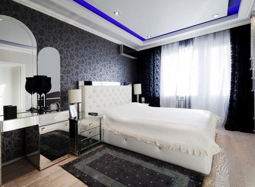 черная спальня с черными шторами