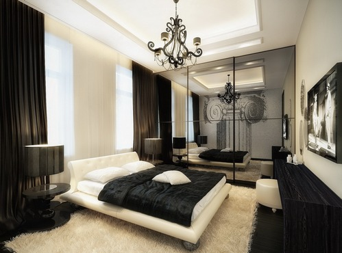 спальня с черными занавесками