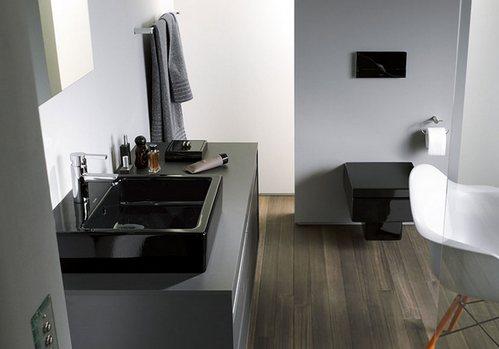 дизайн ванной с черным унитазом