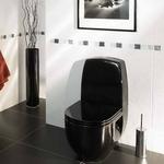 черный унитаз в интерьере туалета