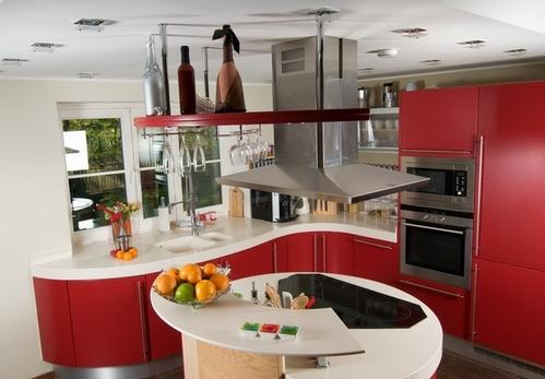 столешница для красной кухни