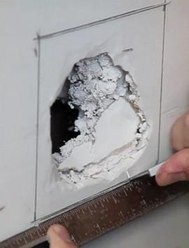 как заделать дыру в стене из гипсокартона