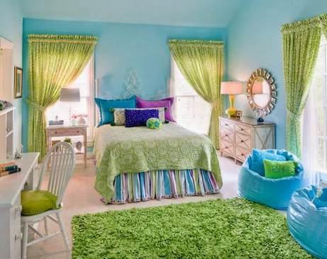 голубой и зеленый в спальне