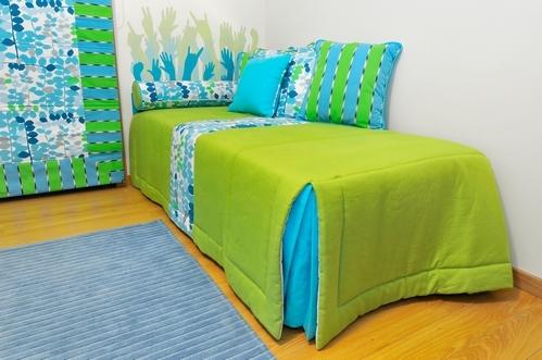 комбинация зеленого с голубым в детской