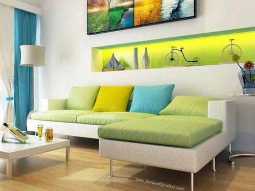 сочетание зеленого и голубого в гостиной