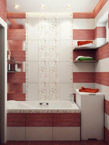 вариант расположения плитки в ванной