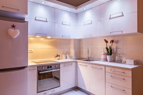 маленькая г-образная кухня