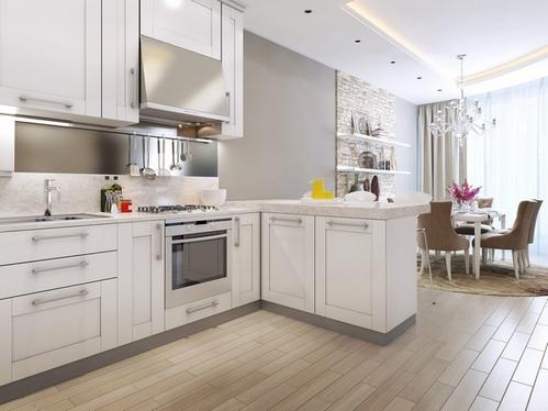 угловая кухня с полуостровом