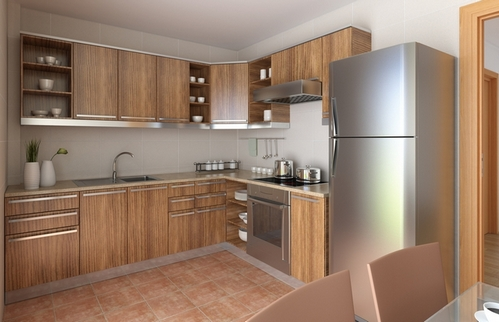 небольшая угловая кухня с холодильником: фото