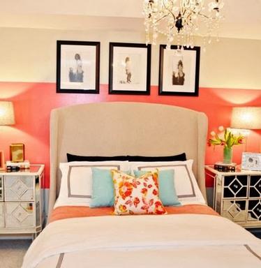 голубые детали в декоре спальни