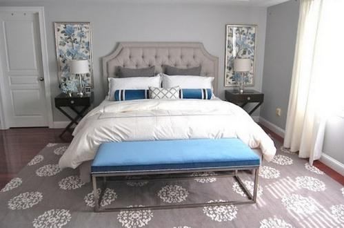 голубой декор в спальне