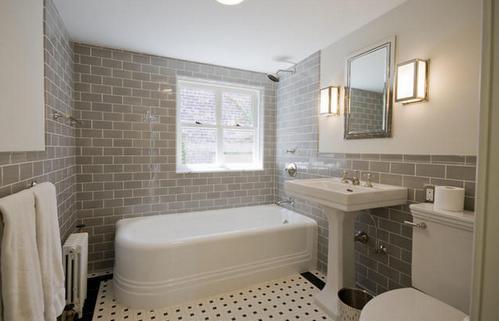 плитка метро в ванной в стиле ар-деко