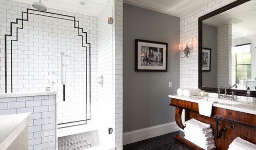 плитка кабанчик: ванная в стиле ар-деко