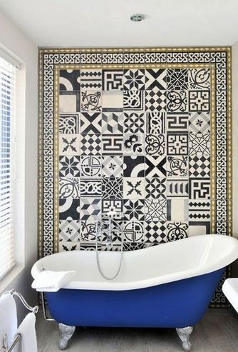 плитка в стиле пэчворк в ванной