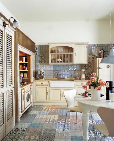 плитка в стиле пэчворк на кухне