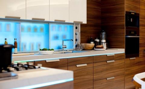 шпонированные фасады на кухне