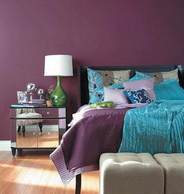 комбинация бирюзового с фиолетовым