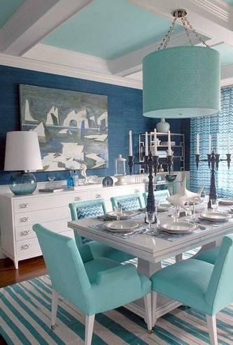 комбинация бирюзового цвета с синим