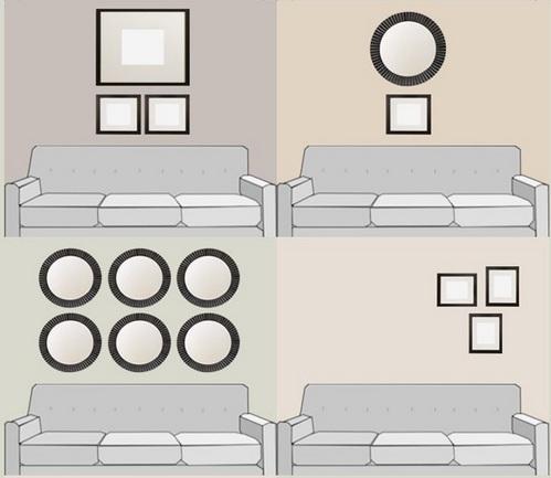 декор стены над диваном: как повесить картины и фотографии
