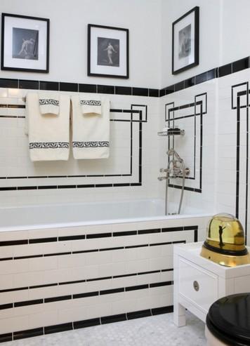 черно-белая ванная в стиле ар-деко