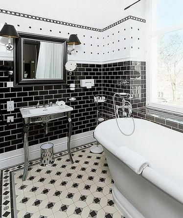 черно-белая ванная в винтажном стиле ар-деко