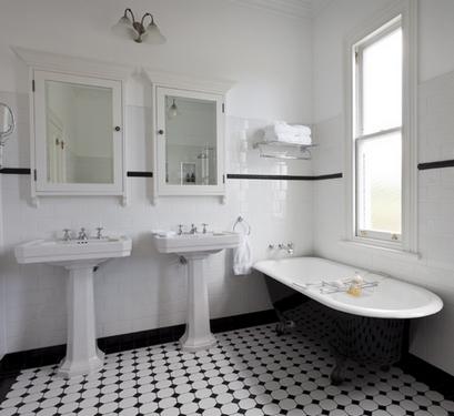 черно-белая ванная ар-деко