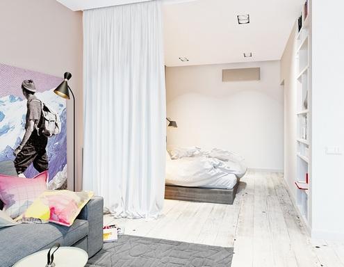 штора вместо перегородки между спальней и гостиной