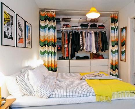 шкаф со занавесками вместо дверей