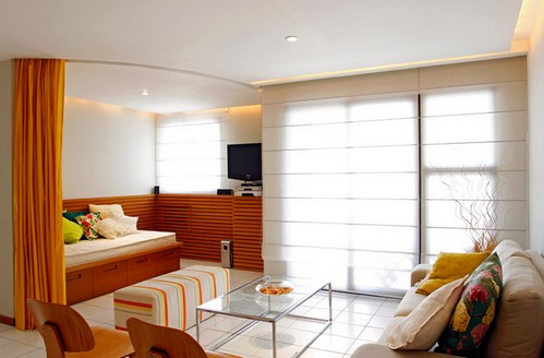 штора для зонирования в совмещенной комнате